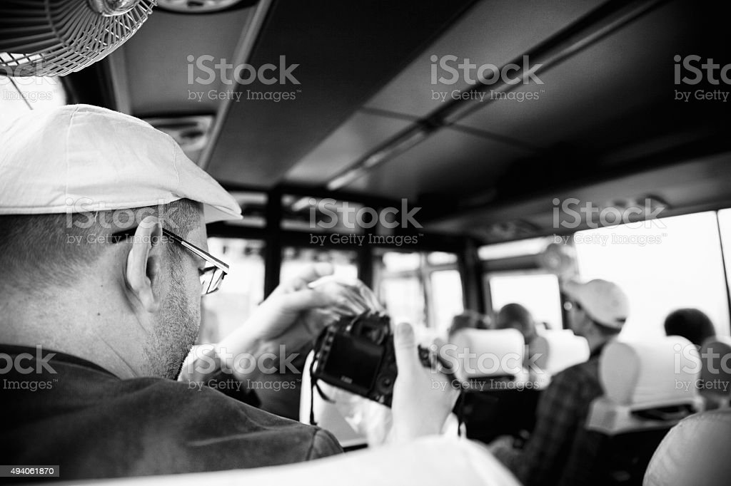 On bus in India stock photo