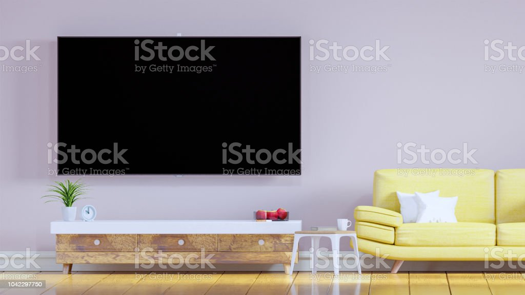 Tv Kast Muur.Tv Kast In Woonkamer Gele Sofa In De Woonkamer Rose Roze Kleur