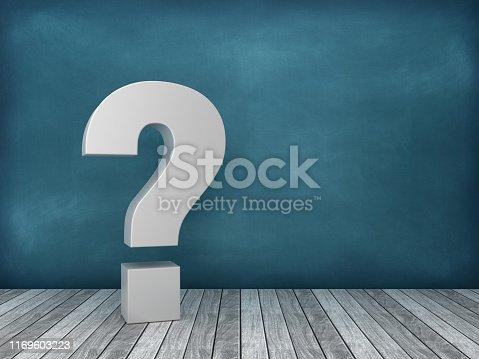 3D QUESTION MARK on Chalkboard Background - 3D Rendering