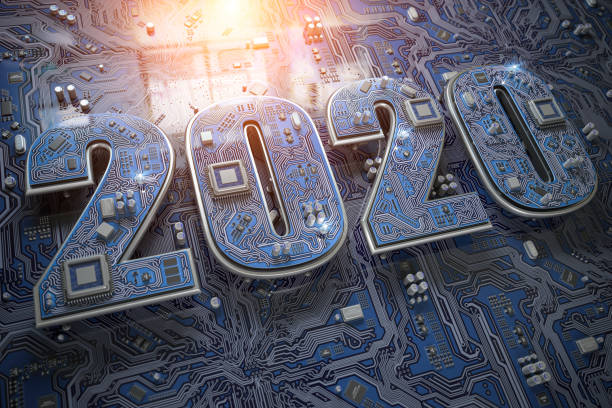 2020 on circuit board or motherboard with cpu. Computer technology and internet commucations digital concept background. Happy new 2020 year. stock photo