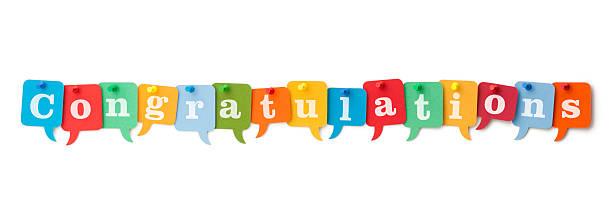 ¡felicitaciones por coloridas discurso burbujas - agradecimiento fotografías e imágenes de stock