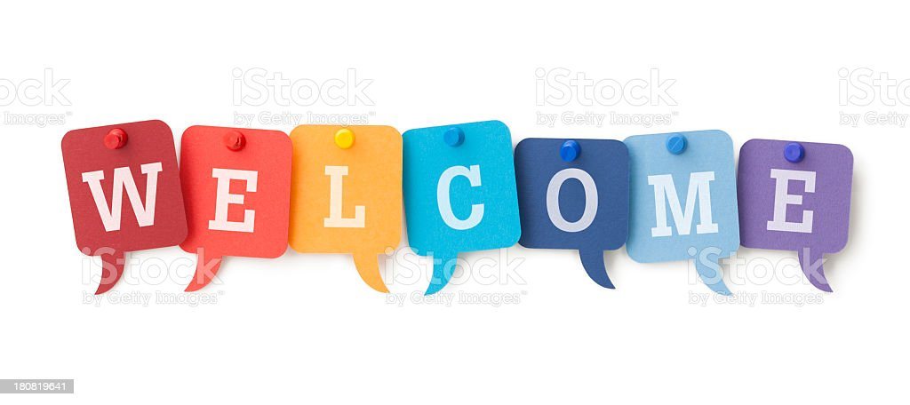 WELCOME on colourful speech bubbles stock photo