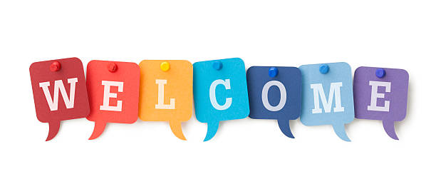 WELCOME on colourful speech bubbles  http://www.primarypicture.com/iStock/IS_Typographic.jpg welcome sign stock pictures, royalty-free photos & images