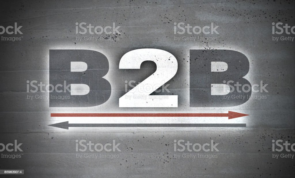 B2B on concrete wall background stock photo