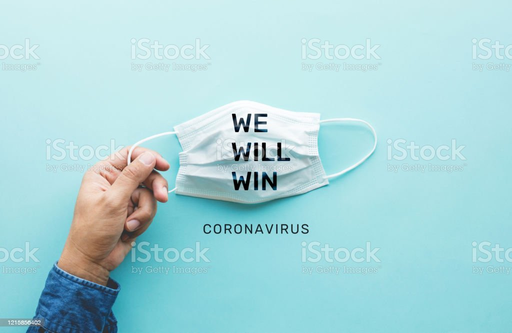 WE WILL WIN on coronavirus,covid-19 outbreak around the world .body health care.medical equipment.demand and supply.hope and solution.big change situation - Royalty-free Air Pollution Stock Photo