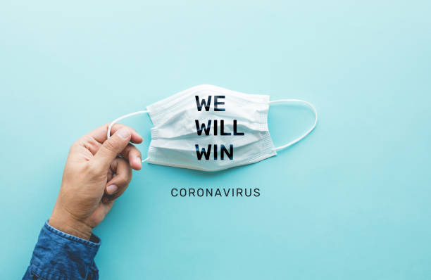 WE WILL WIN on coronavirus,covid-19 outbreak around the world .body health care.medical equipment.demand and supply.hope and solution.big change situation stock photo