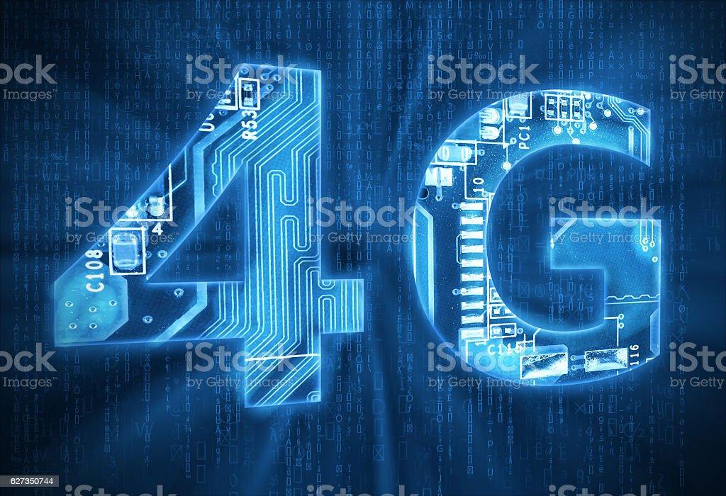 4G on digital background stock photo