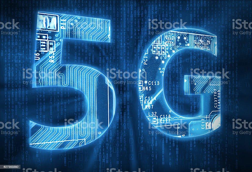 5G on digital background stock photo