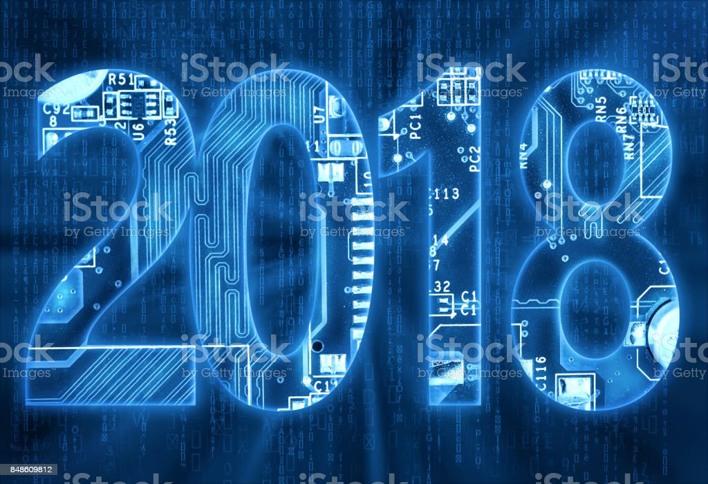 2018 on digital background stock photo