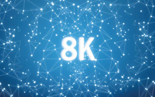 8K auf digitale Schnittstelle und Blaues Netz Hintergrund – Foto