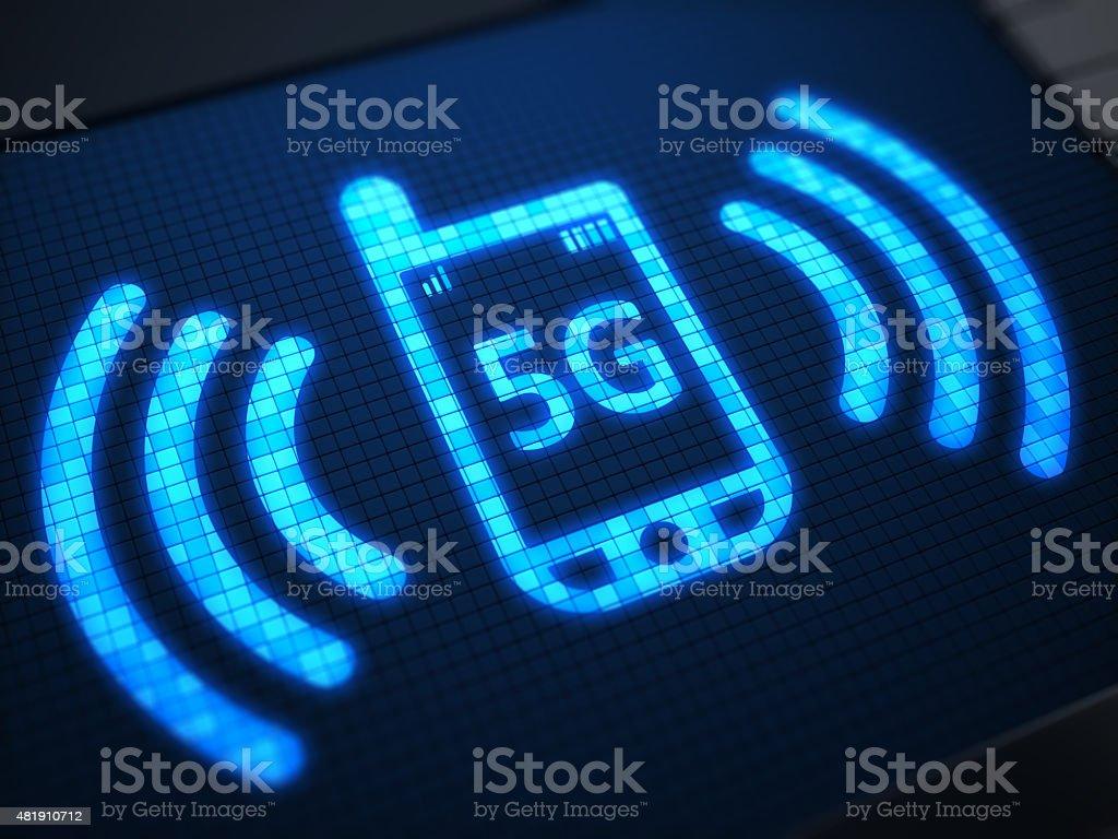 5G on digital screen stok fotoğrafı