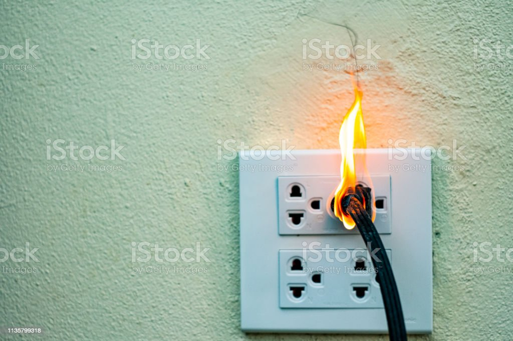 On fire electric wire plug Receptacle wall partition,Electric short...