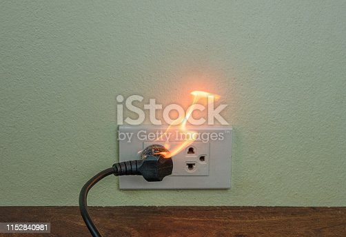 istock On fire electric wire plug Receptacle wall partition,Electric short circuit failure resulting in electricity wire burnt 1152840981