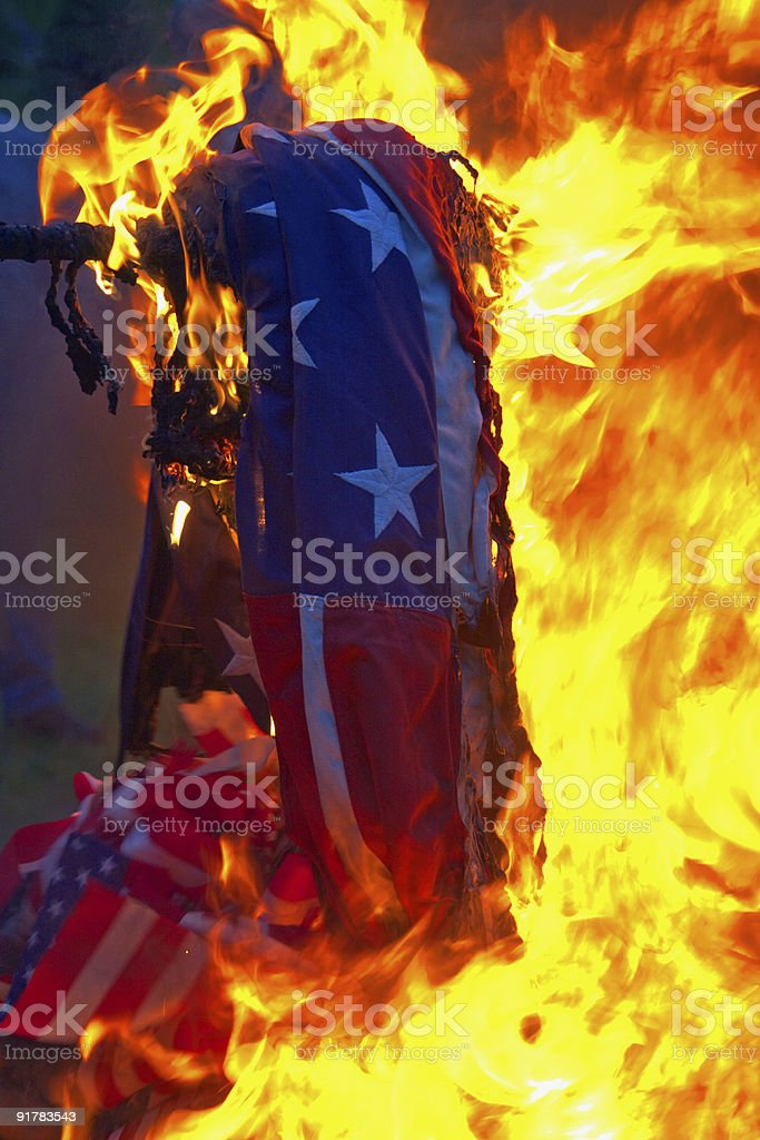 USA on fire stock photo