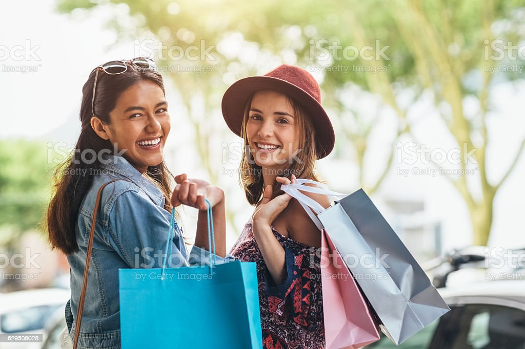 On girls day out we go all out stock photo