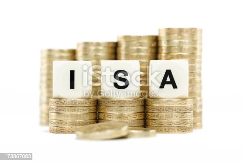 The letters ISA (Individual Savings Account) on dice on stacks of gold coins on a white background.
