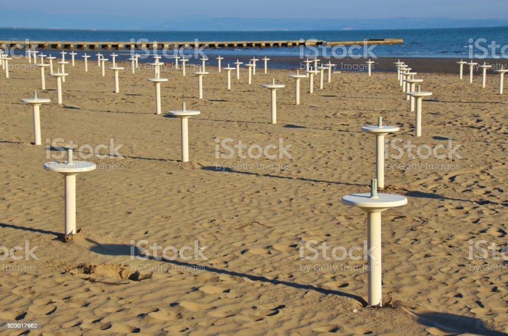 On Grado beach in spring. North Italy. stock photo