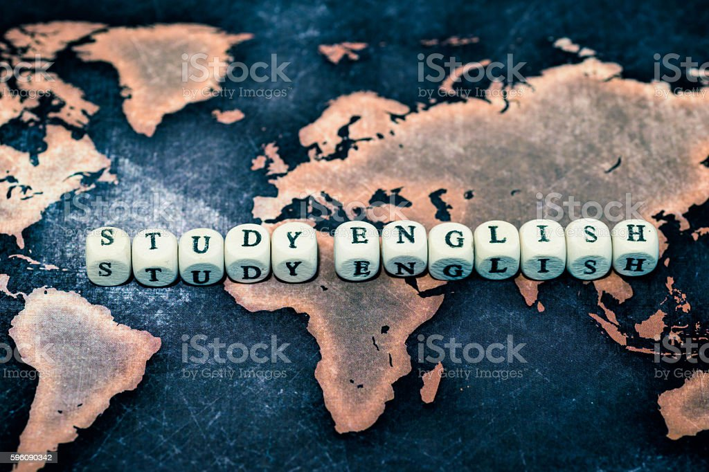 STUDY ENGLISH on grunge world map royalty-free stock photo