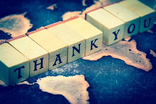 thank you on grunge world map - herz zitate stock-fotos und bilder