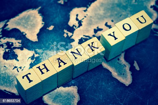 istock THANK YOU on grunge world map 618653704