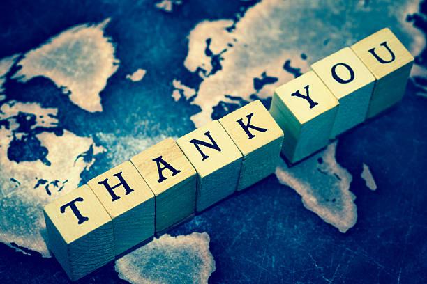 thank you on grunge world map - danke zitate stock-fotos und bilder