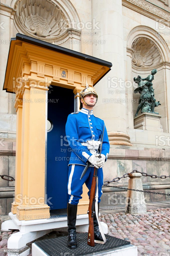 On Guard. Royal palace ceremonial guard, Stockholm, Sweden stock photo