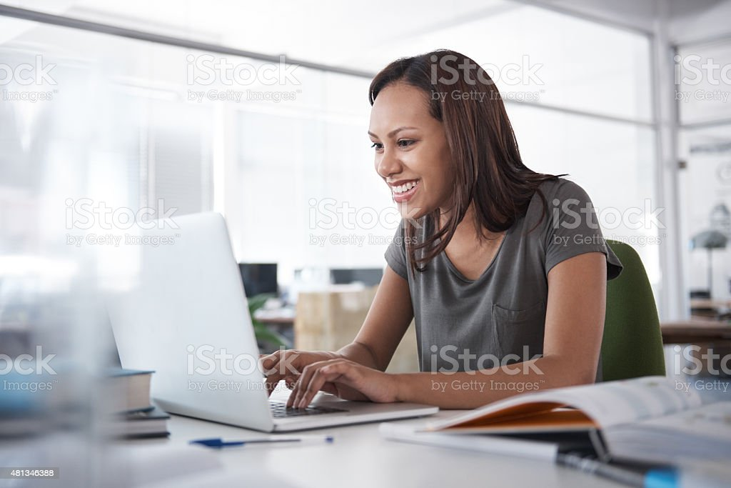 On her way to an A+ stock photo