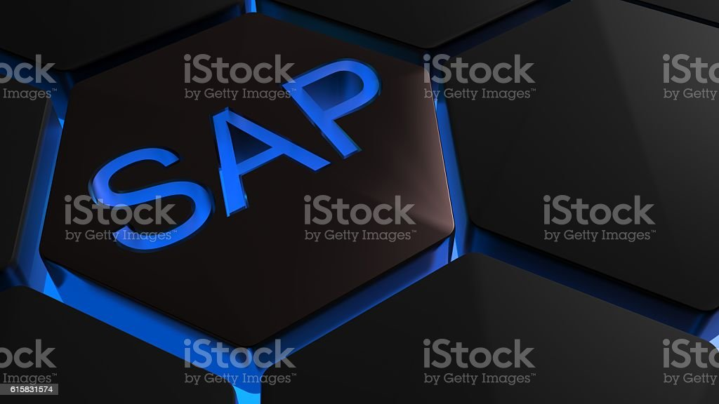 SAP on hexagons in blue backlight royalty-free stock photo