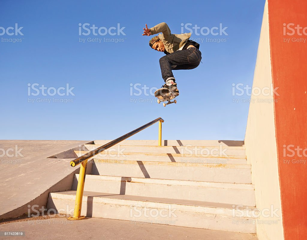 On his grind stock photo