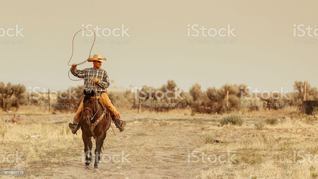 On his horse, a mature cowboy is handling a lasso. stock photo