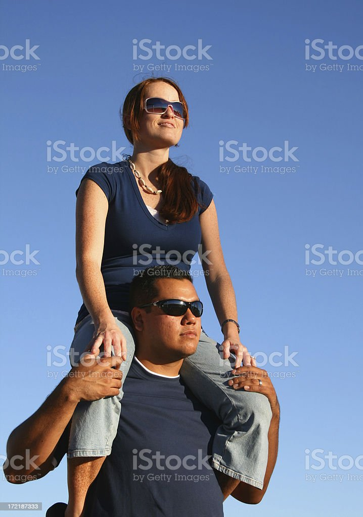 On His Shoulders royalty-free stock photo