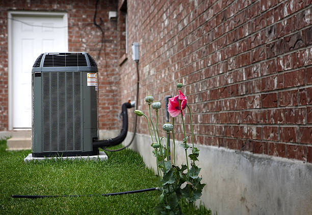 AC on house backyard stock photo