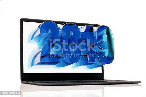 1063751940istockphoto 3D 2019 on Laptop Screen. New Year Concept 1053486834