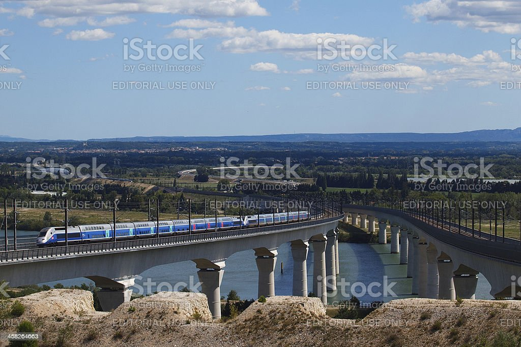 TGV on Les Angles viaduct stock photo