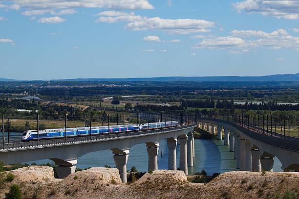 TGV on Les Angles viaduct stock photo
