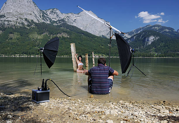 On Location Photography, Behind the Scenes of a Complex Setup stock photo