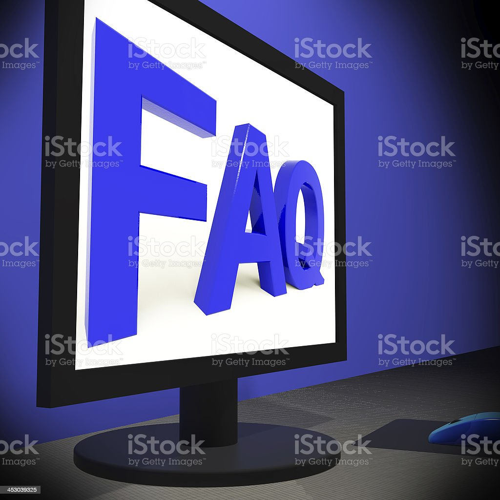 FAQ On Monitor Showing Assistance stock photo