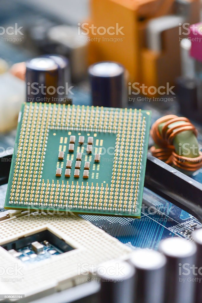 CPU on motherboard background stock photo