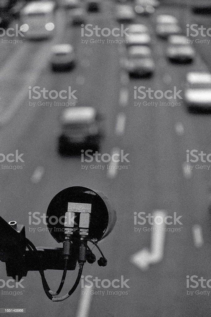 CCTV on motorway - camera surveillance stock photo