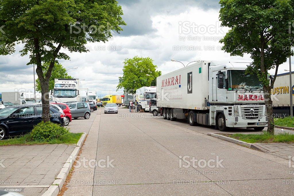 On motorway service area stock photo