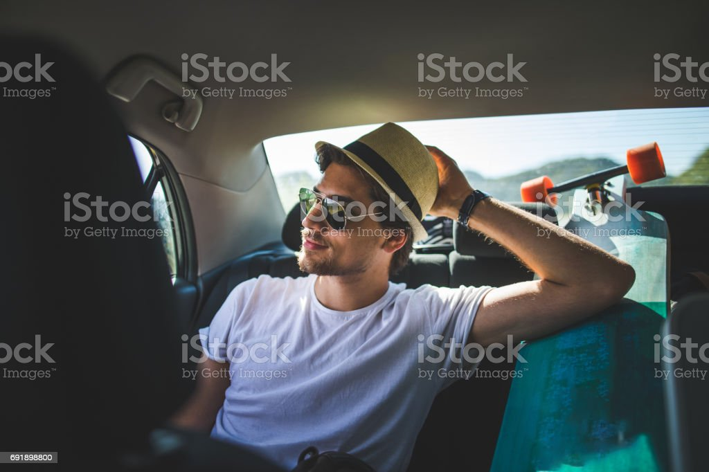 On my way for the skateboarding adveture stock photo