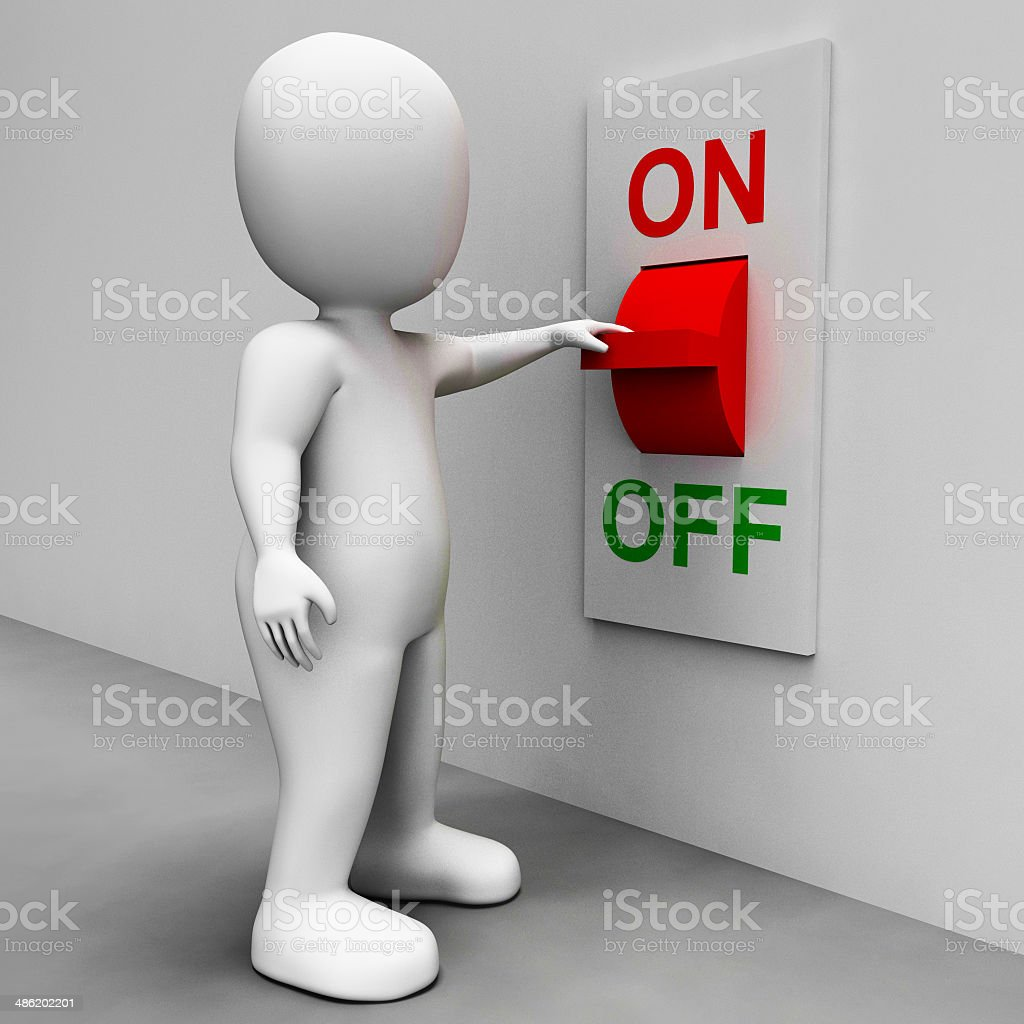 On Off Switch Shows Energy Supply stock photo