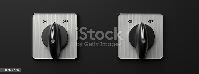 On off concept. Toggle switch retro old round isolated against black background, banner. 3d illustration
