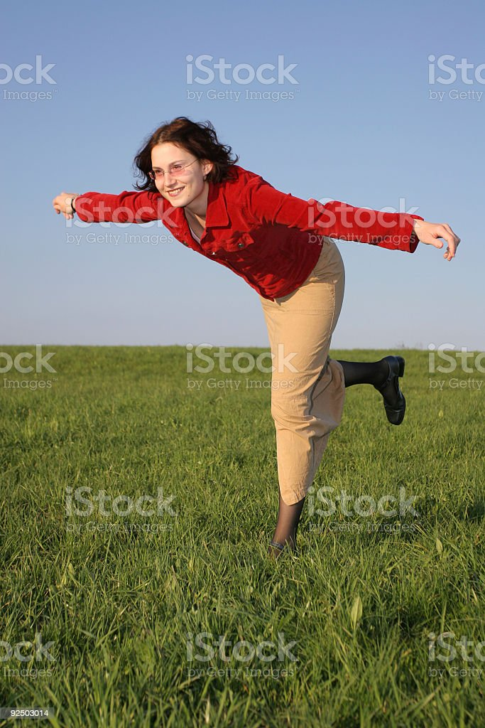 On one leg royalty-free stock photo
