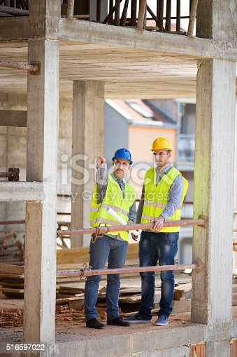 516607254 istock photo On open air building construction architect show where is planni 516597022