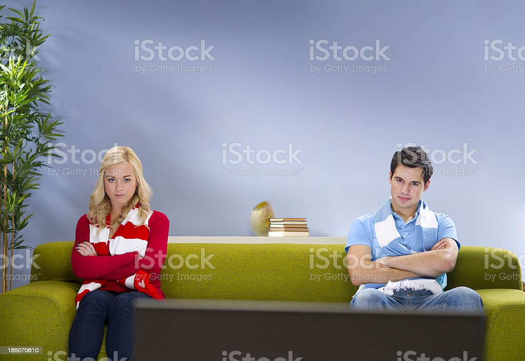 on opposite sides stock photo