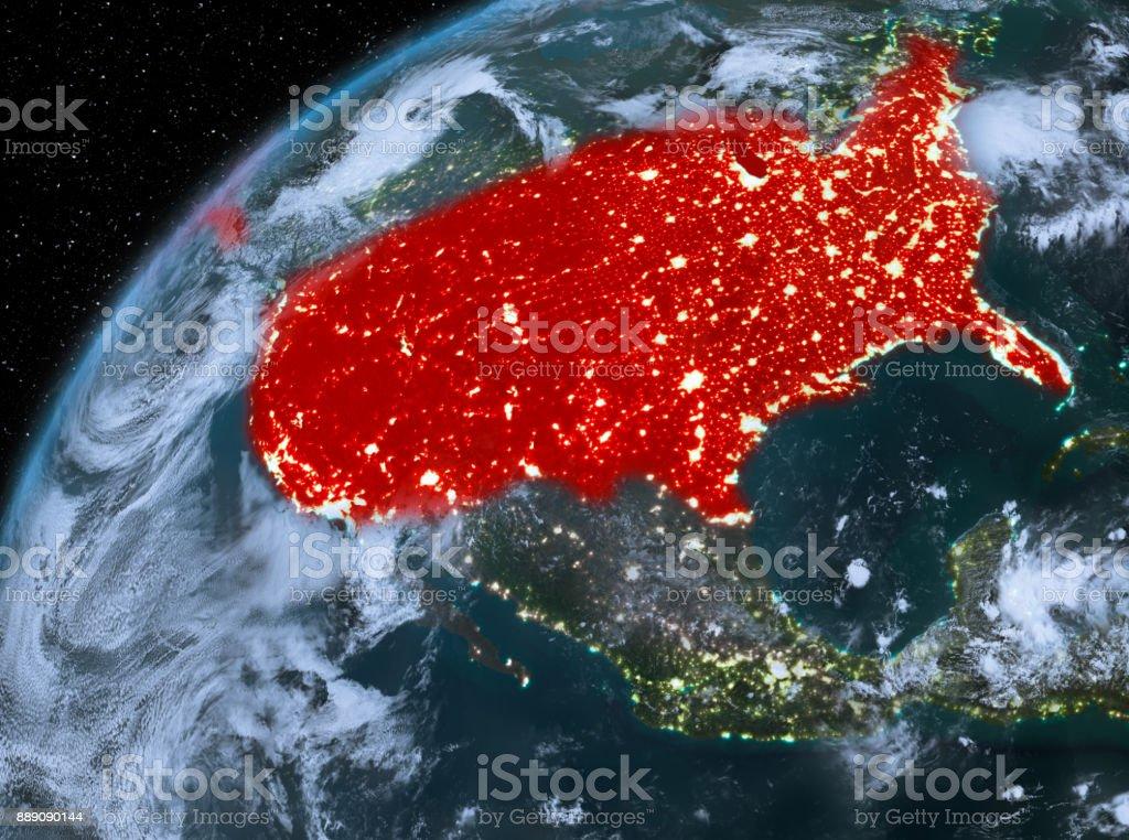 USA auf dem Planeten Erde im Raum in der Nacht – Foto