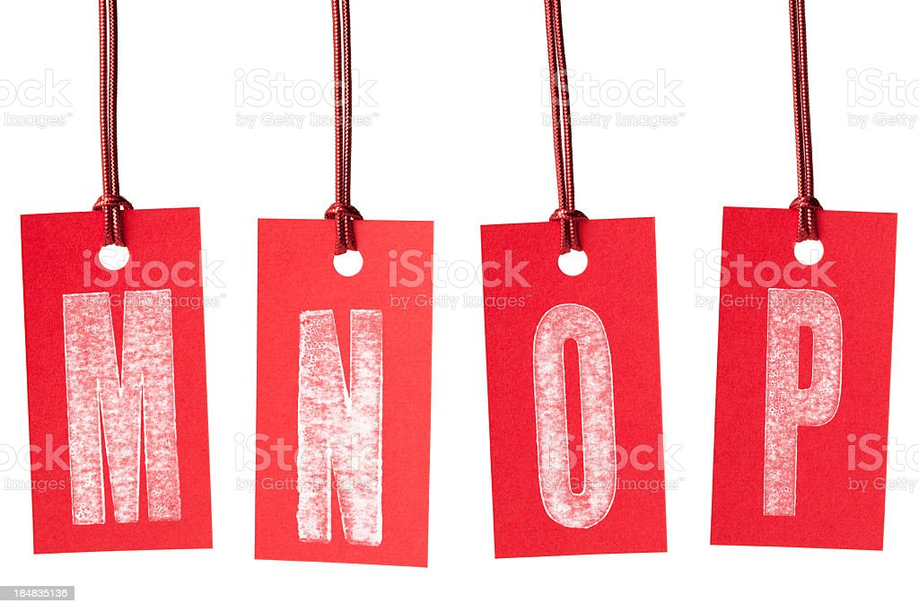 M N O P on red price labels royalty-free stock photo
