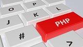 PHP on rek key of a white computer keyboard - 3D rendering illustration