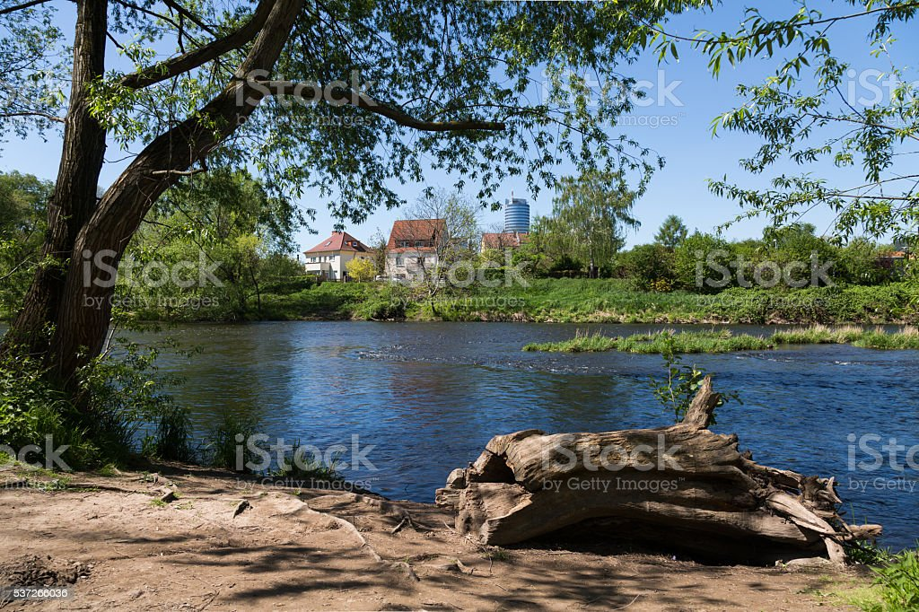on Saale shore stock photo